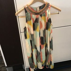 Anthro HD in Paris beaded multicolor dress. Size 0